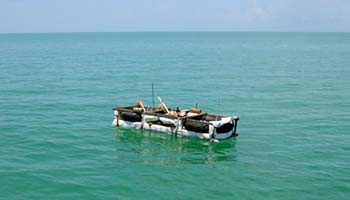 Cuban raft in the straits of Florida