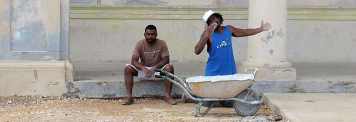 Workers at the Malecon in Havana