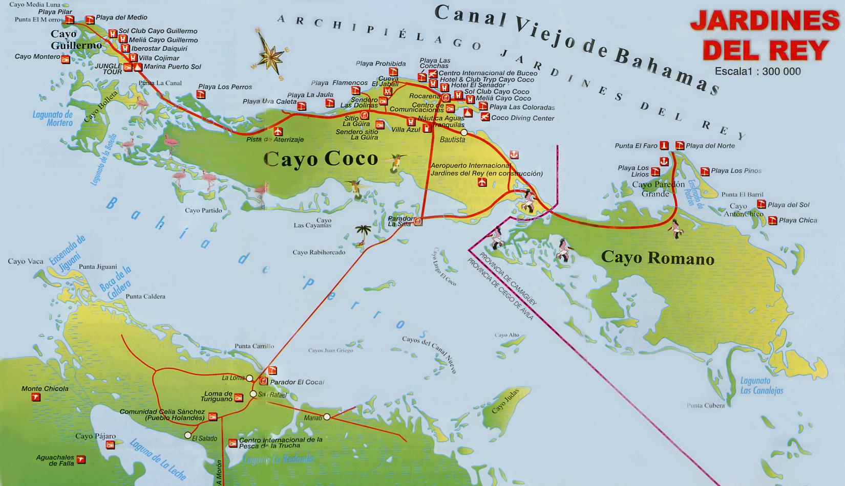Cayo coco cuba map for Jardines del rey